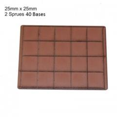 25mm Square Bases - Brown (Primed)
