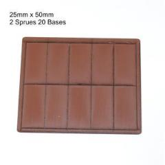 25 x 50mm Rectangle Bases - Brown (Primed)