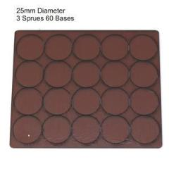 25mm Round Bases - Brown (Primed)