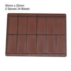 20 x 40mm Rectangle Bases - Brown (Primed)