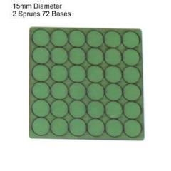 15mm Round Bases - Green (Primed)
