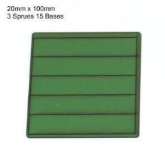 20 x 100mm Rectangle Bases - Green (Primed)