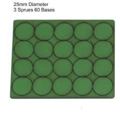 25mm Round Bases - Green (Primed)