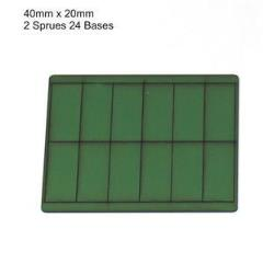 20 x 40mm Rectangle Bases - Green (Primed)