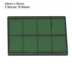 30 x 40mm Rectangle Bases - Green (Primed)