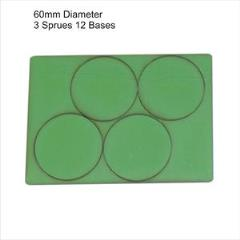 60mm Round Bases - Green (Primed)