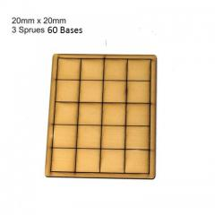 20mm Square Bases - Tan (Primed)