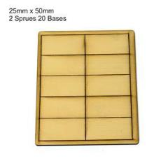 25 x 50mm Rectangle Bases - Tan (Primed)