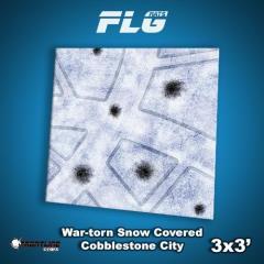 3' x 3' - War-Torn Snow Covered Cobblestone City