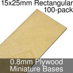 Rectangular Thin Plywood Bases - 15x25mm