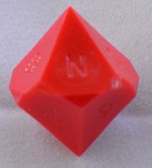 """d10 """"N"""" - Red (Plain)"""