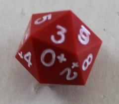20 Sided 0-9+ Red w/White Ink