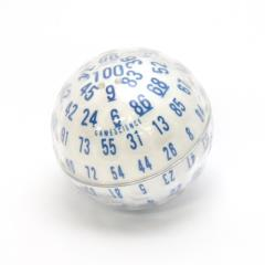 d100 Zocchihedron White w/Blue