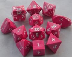 Full Poly Set Pink w/White Ink (12) (Limited Edition)