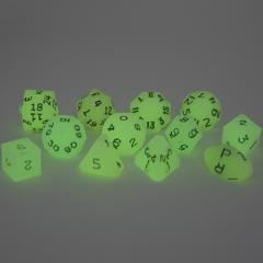Full Poly Set Glow-in-the-Dark w/Black (12)