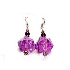 Dangle Earrings 16mm d20 Translucent Arcane Amethyst (2)