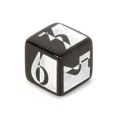d6 19mm Art Deco Black w/Chrome Dice (2)