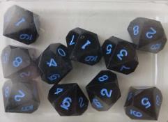 D10 - Black w/Blue Ink (10)