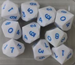 D10 - White w/Blue Ink (10)