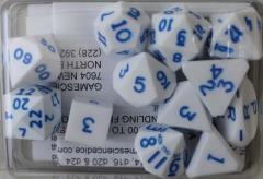 Full Poly Set White w/Blue Ink (12)