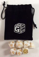 Heroic White Dice Set w/Bag (7)