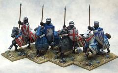 Crusading Knights - Mounted w/Open Helms & Lances Upright