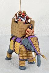 Successor Elephant w/Lemellar Armor, Stone Effect Howdah & Standing Crew