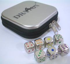 Metal Dice Combo - 5 Rainbow d6 w/Tin