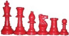 Chess Pieces w/Extra Queens & Velvet Bag (Red)
