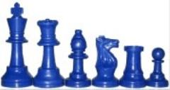 Chess Pieces w/Extra Queens & Velvet Bag (Blue)