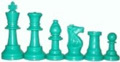 Chess Pieces w/Extra Queens & Velvet Bag (Green)
