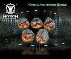 40mm Round Bases - Lava (5)
