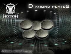 40mm Round Bases - Diamond Plate (5)