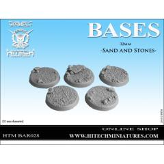 32mm Round Bases - Sand & Stones (5)