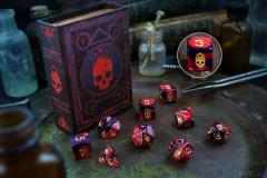 Polyhedral Dice Set - Red & Black w/Mark of the Necronomicon Design (9)