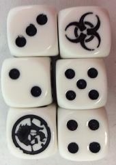 Zombie Killer Dice - White w/Black (D6)