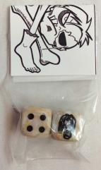 Sketch Head Dice - White & Tan Marble w/Black (d6)
