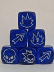D6 Flaming Skull Dice - Gem Blue w/White (3)