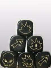 D6 Flaming Skull Dice - Black w/Gold (3)