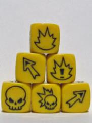 D6 Flaming Skull Dice - Yellow w/Black (3)