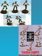 2 Helmeted Roller Derby Teams (Resin)