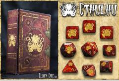 Polyhedral Dice Set - Red w/Cthulhu Brand Design (9)