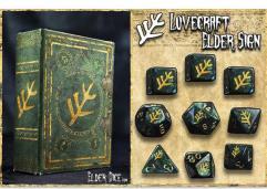 Polyhedral Dice Set - Green w/Lovecraft Elder Sign Design (9)