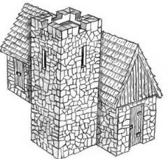 Stone Shingle Church w/Keep