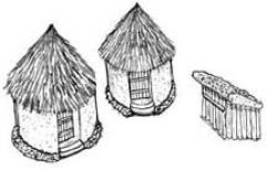 Large and Small Huts w/Shed
