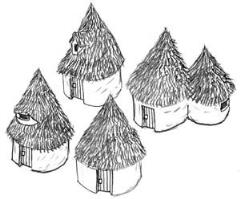 Assorted Thatch Huts