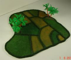 Rice Paddy w/4 Palm Trees - Boot Shaped