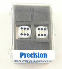 16mm White d6 Precision Backgammon Dice w/White Pips (2)