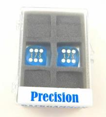 16mm Blue Transparent d6 Precision Backgammon Dice w/White Pips (2)