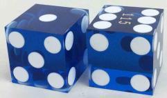 d6 Precision Casino Dice - Blue w/White (2)